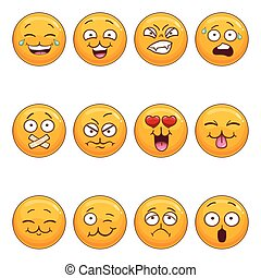Set with cartoon smiley face