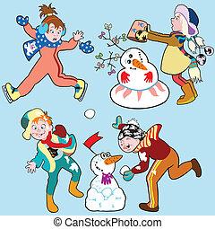 set with children in winter
