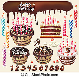Set with Chocolate cakes and birthday decoration