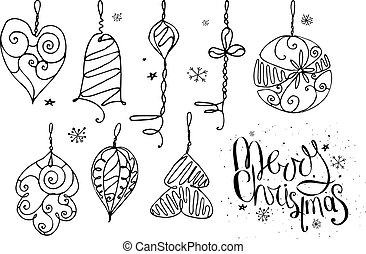 Set with Christmas decor and phrase Merry Christmas isolated on white