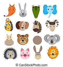 Set with colorful cute animal face. Hare, crocodile, koala, hippopotamus, bear, giraffe, horse, ram, pig, hedgehog, donkey, lion. Isolated objects. Cartoon flat illustration. Template icon, sticker.