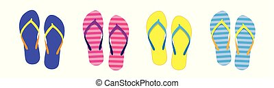 aef621725fec Summer beach with color flip flops. family summer holiday. flat design  illustration.
