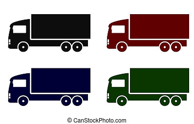 set with colorful truck icons