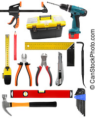set with construction work tools isolated on white