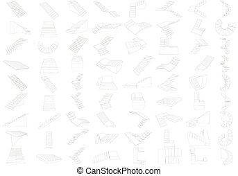 Set with contours of ladders of a various form and types. Vector illustration