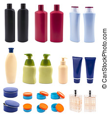 Set with cosmetic bottles isolated on white