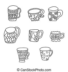 Set with cups and mugs. Hand drawn zentangle. Vector illustration eps 10 for your design. Black and white background.