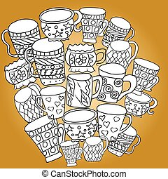 Set with cups and mugs. Hand drawn zentangle. Vector illustration eps 10 for your design. Yellow background.