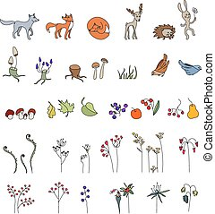 Set with cute animals. Wildlife. Forest mushrooms, flowers and leaves