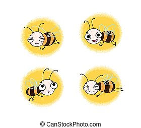 Set with cute cartoon bees.