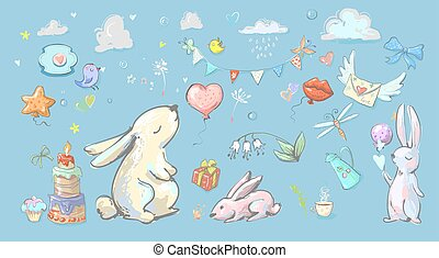 Set with cute cartoon hares ballons and party elements
