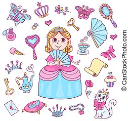 Set with cute little princess with a diadem