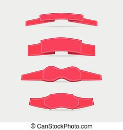 Set with Decorated Ribbons - Set of Brightl Pink Ribbons...