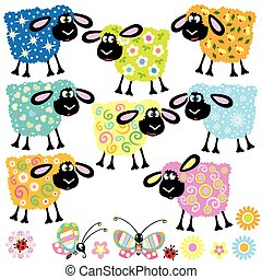 set with decorative sheep