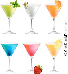 Set with detailed cocktails on white. - Set with detailed...