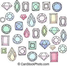 Set with diamonds, jem stones,jewellery. Stylized objects isolated on white