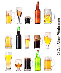 set with different beer on white background