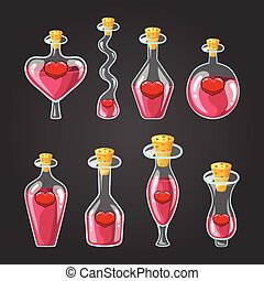 Set with different bottles of love potion