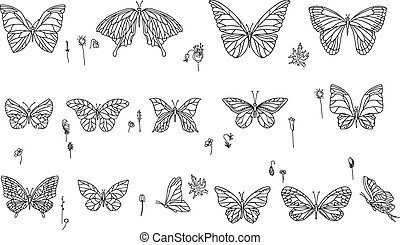 Set with different butterflies. Black and white.