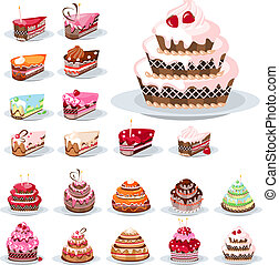 Set with different cakes - Set with different birthday cakes