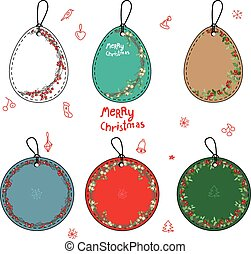 Set with different Christmas labels on white