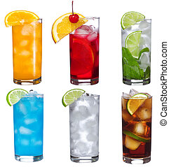 set with different cocktails