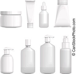 Set with different cosmetic bottles. No gradients, no meshes...