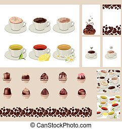 Set with different  cups with tea and coffee.