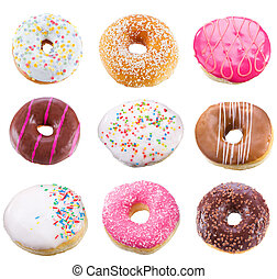 set with different donuts on white background