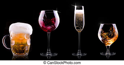 set with different drinks on black background