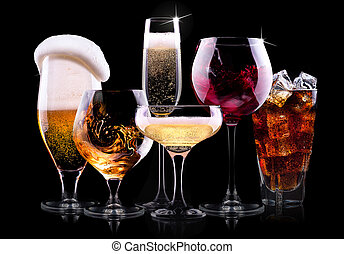 set with different drinks on black background - champagne, ...