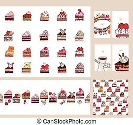 Set with different  fruit cake slices. Different taste