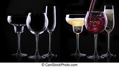 set with different full and empty glasses