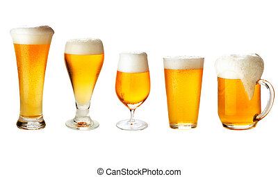 set with different glasses of beer on white - excellent...