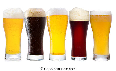 set with different glasses of beer on white background
