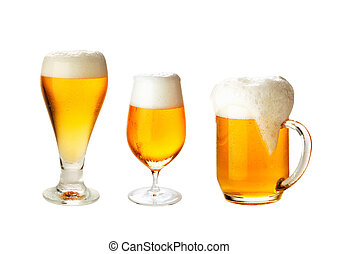 set with different glasses of beer on white