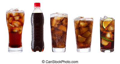 set with different glasses of cola