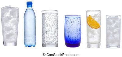 set with different glasses of water