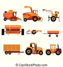 Set with different heavy machinery used in agriculture...