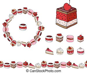 Set with different kinds of dessert. Round frame,garland and objects on white. For your design, announcements, postcards, posters, restaurant menu.