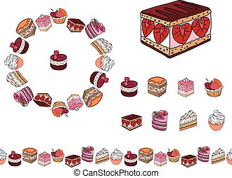 Set with different kinds of dessert. Round frame, garland ...