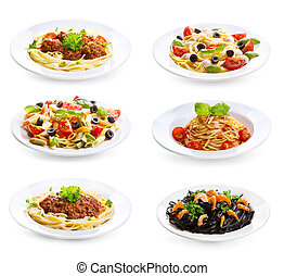 set with different pasta and spaghetti