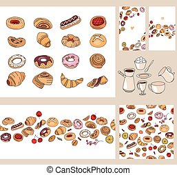 Set with different  pastry.