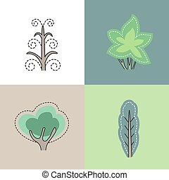 Set with different stylized trees