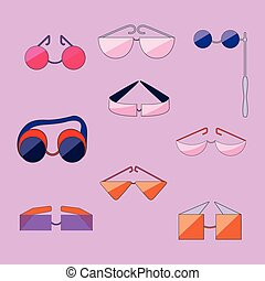 Set with Different Type of Flat Outlined Glasses.