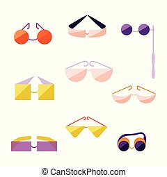 Set with Different Type of Flat Style Glasses.