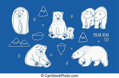 Set with different white polar bears. Hand drawn, doodle vector collection.