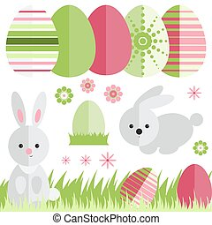 Set with easter eggs and rabbit in flat style