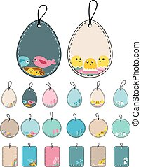 Set with easter tags with birds