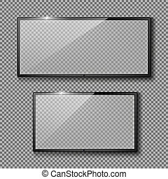 set with empty TV frames, flat lcd screens